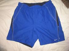 Nike Large Swim Trunks Shorts Blue with White Stitching Lined 34 36 Waist Large