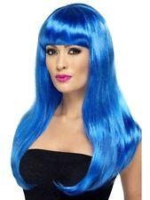Da Donna Ragazze blu BABELICIOUS Parrucca Lunga Frangia Retta Katy Perry tintura dei capelli
