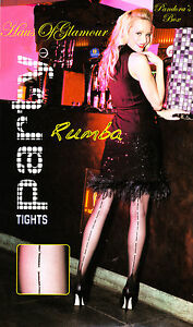 Black Seamed Tights/Pantyhose with Crystal Diamond Jewels PARTY TIME