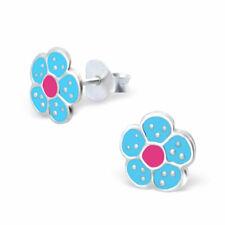 ICYROSE 925 Sterling Silver Small Blue Flower Kids Girls Stud Earrings 3536