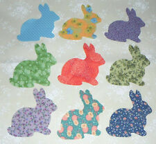 Set 9 Mixed Bunny Iron-on Cotton Fabric Appliques for Quilts Apparel Etc