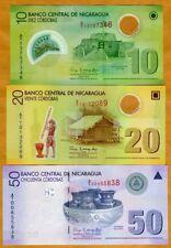 Nicaragua, SET, 10;20;50 cordobas 2007 (2009) P-201-202-203, UNC