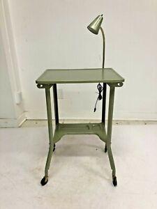 Vintage INDUSTRIAL TYPEWRITER TABLE w Light green metal mid century desk stand