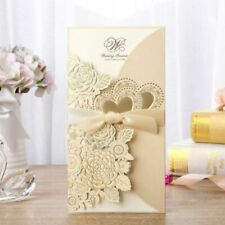 Wedding Invitation Cards Hollow With Ribbon Envelope Folded White Gold Laser Cut