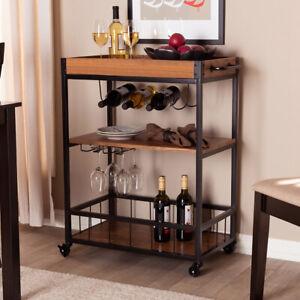 Utility Kitchen Cart Dining Carts Wood Stand Storage Workstation Shelf w/ Handle