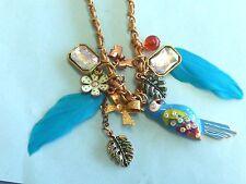 "Betsey Johnson BJ Designer Rhinestone Blue Bird Parrot Pendant Necklace 22"""