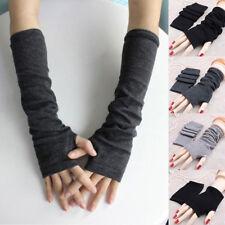 Womens Winter Wrist Arm Hand Warmer Knitted Long Fingerless Gloves Solid Mitten