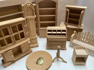 Unfinished Dollhouse Miniature Furniture Shelves Desk Dresser Bench Table 10pcs