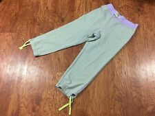 LL Bean Girl's Purple Green Stripe  Cropped Sweatpants Joggers Cotton Stretch 12