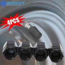 4 Black Aluminum Tire/Wheel Air Pressure Valve Stem CAPS for Auto-Car-Truck-Bike