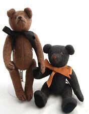 OOAK Teddy Bear Wool Upholstry 2pc Artist Anne Cranshaw Donna Rudd Antique Style