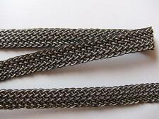 Galon tressé, façon cuir, or et noir, largeur 16 mm , Vendu au METRE, réf 401