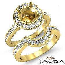 Anillo de Compromiso Diamante Redondo Novia Sets 14k Oro Amarillo Pavé Semi