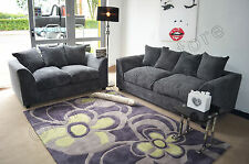 Jumbo Chord GREY Fabric Sofas 3 + 2 Seater Sofa DYLAN Settee Couch