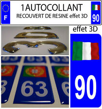 1 sticker plaque immatriculation auto DOMING 3D RESINE DRAPEAU ITALIE FLOTANT 90