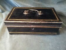 LOVELY ANTIQUE BLACK AND GOLD PAINTED METAL CASH BOX