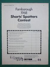 9/1968 PUB SHORT BROTHERS HARLAND SHORTS SKYVAN AIRCRAFT SPECIAL FARNBOROUGH AD