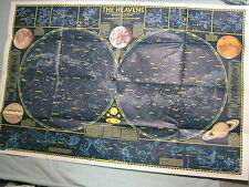 THE HEAVENS MAP + MONTHLY STAR CHARTS National Geographic August 1970 MINT