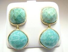 Amazonite,Cushion Bezel Sterling Clad Dangle Earrings, Wow!