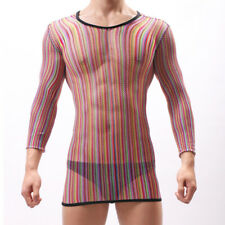 Mens Sexy Mesh Transparent Dress Mini Bodycon Fishnet Party Sheer Nightwear Club