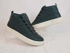NIB BALENCIAGA ARENA DARK GREEN LEATHER LACE UP HI TOP SNEAKERS 42 US 9 449678