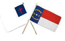 "12x18 12""x18"" Wholesale Combo Christ Christian State North Carolina Stick Flag"