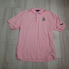 "Tommy Hilfiger Golf Polo Pink white stripes  Shirt sz m ""Olympia Fields 2003"""