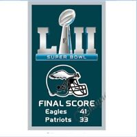 Philadelphia Eagles Flag SUPER BOWL 52 LII Champions Score 2018 Banner 3X5 ft