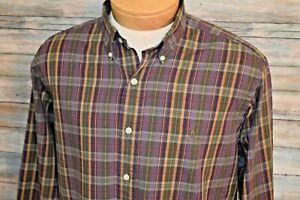 RALPH LAUREN CLASSIC FIT Large Men's L/S Button Down Shirt Autumn Purple Plaid