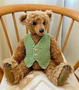 ++TEDDY CLOTHES++ new hand knitted waistcoat vest to suit a 16-17 inch bear