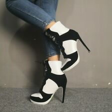 Women's Fashion Lace Up Ankle Booties Black White High Top Slim New High Heels