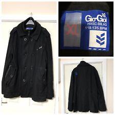 Gio Goi Black Wool Blend Coat Jacket Pockets Mens Size XL Smart (B37)