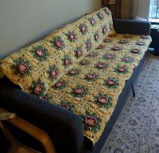 "Vintage Flower Square AFGHAN Blanket Crochet 3D PRETTY 60"" x 80"""