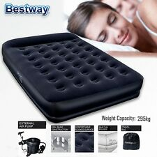 Bestway Premium Restaira Inflatable Queen Flocked Air Bed Mattress w/ Air Pump