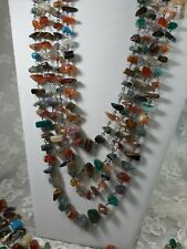 SEMI PRECIOUS STONE NUGGET NECKLACES LOT OF 4 Rustic Wired Crafting TC1850