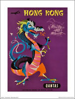 "QANTAS TRAVEL POSTER PRINT - HONG KONG DRAGON - 40 x 30 cm 16"" x 12"""