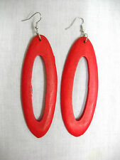 NEW LARGE BOHO TRUE RED COLOR STAINED WOOD DANGLING OVAL SHAPED HOOP EARRINGS