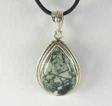 Green Jasper Pendant Necklace .925 Sterling Silver Agate Stone Mens Jewelry