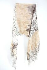 TRIBAL THEME WHITE BROWN ABSTRACT INSPIRED TASSELED STATEMENT SCARF (MS31)