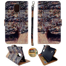 For Samsung Galaxy Note 4 N9100 Wallet Leather Camo Cone Deer RT Case Cover PRl