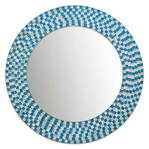 "20"" Round Aquamarine & Silver Topaz Jewel Tone Mosaic Wall Mirror - Open Box"