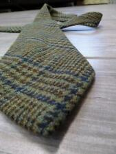 wool TWEED neck tie KNIT thick HOUNDSTOOTH plaid HUT green harris donegal
