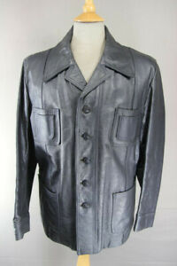 CLASSIC VINTAGE 1970's BRITISH MADE DARK GREY LEATHER SAFARI JACKET 42 INCH