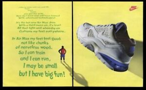 1993 Nike Air Max blue and white shoe photo vintage print ad