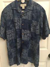 Orvis Mens Shirt Rayon Short Sleeve Blue Hieroglyphics Sz M Medium