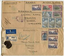 CEYLON CENSORED ARMY BASE PO BOXED + UPCOT REGISTERED AIRMAIL MULTIFRANKING 1944