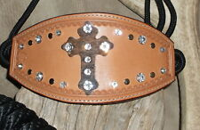 Rope Bronc Halter, Wide Leather Nose Band, Gorgeous Cross + Bling, Nice!! G&E