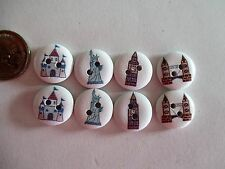 8 x 15mm Painted Wooden Buttons - 2 x 4 Monuments Buildings - 2 Holes  No.940