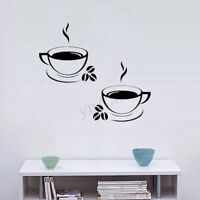 2 Coffee Cup Wall Stickers Art Decal Home Kitchen Restaurant Pub Cafe  - ☆  *