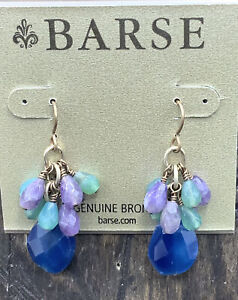 Barse Whisper Cluster Earrings- Mixed Stones- Bronze- NWT